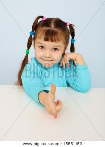 Funny Little Girl Shows A Finger