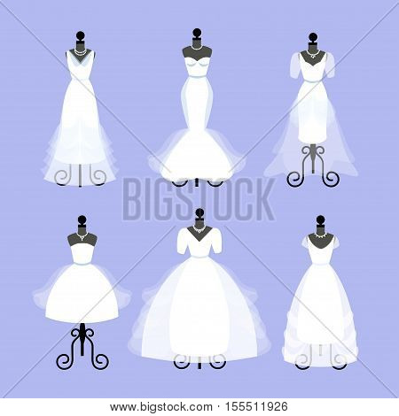 Set of Wedding Dresses. Fashion gowns on mannequins. White dresses in Different styles. Vector