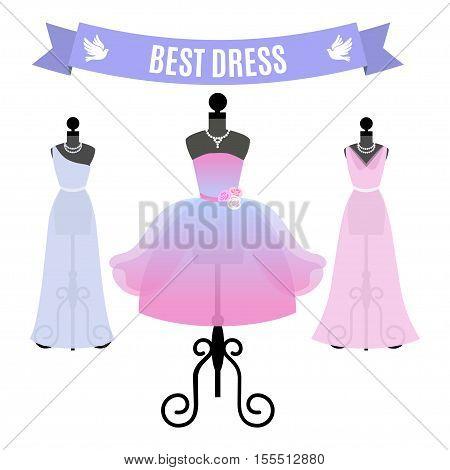 Set of Evening Dresses. Vintage dresses on mannequins. Vector