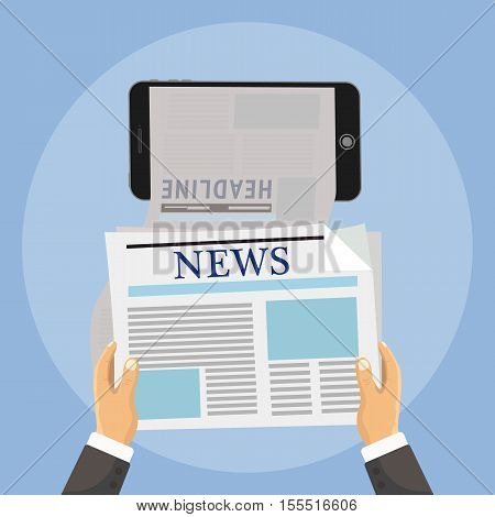 Hand holds phone and online reading news from newspapers. Vector illustration of online news browsing using smartphone. Mobile phone app for a newspaper or magazine