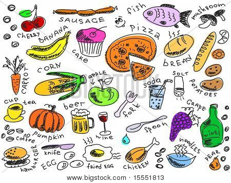 set of food doodles vector. Visit my portfolio for big collection of doodles