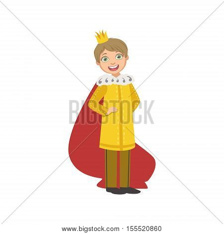Little Boy In Yellow Gown Dressed As Fairy Tale Prince. Cute Flat Child Character In Bright Colored Clothes Isolated On White Background