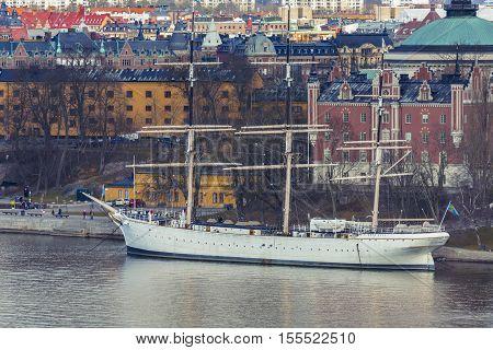 Old historical Vessel in Stockholm. Ship docked in Stockholm city Sweden