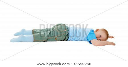 Child Stumbled, Fell And Lay On White Background