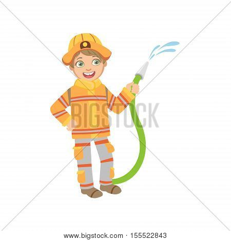 Boy Dressed As Fireman With Hose. Child Dream Future Profession Cute Colorful Illustration Isolated On White Background.