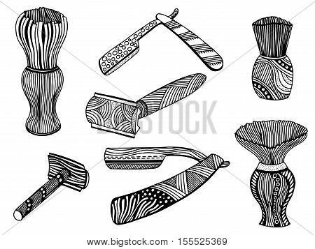 Zentangle style set of retro straight razor and shaving brush in vector, Doodle Line Art illustration