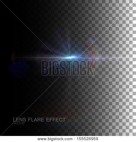 Sparkle sun burst. Digital lens flare effect. Vector illustration of lens flare light effect. VFX element for design