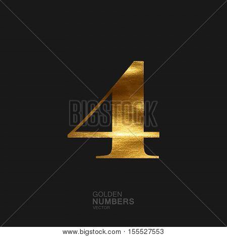 Golden number 4. Typographic vector element for design. Part of glow golden painted alphabet. Digit four with golden paint texture. Vector illustration