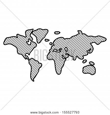 Striped planet map icon. Earth world and cartography theme. Isolated design. Vector illustration