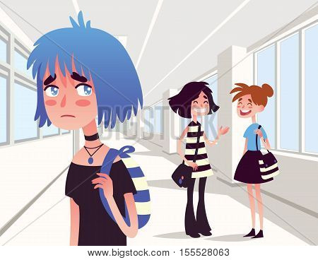 Vector illustration of depressed blue girl with communication problems.