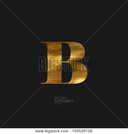 Golden Letter B. Typographic vector element for design. Part of glow golden painted alphabet. Letter B with golden paint texture. Vector illustration