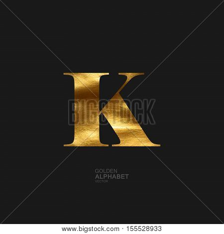 Golden Letter K. Typographic vector element for design. Part of glow golden painted alphabet. Letter K with golden paint texture. Vector illustration