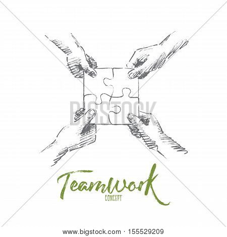 Vector hand drawn teamwork concept sketch. Human hands folding four parts of one puzzle torether. Lettering Teamwork concept