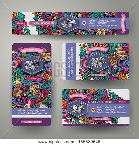 Corporate Identity vector templates set design with doodles hand drawn Holidays theme. Colorful banner, id cards, flayer design. Templates set