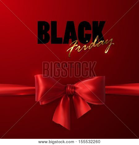 Black Friday sale banner design template. Vector illustration of Black Friday sign with red silk bow and ribbon.