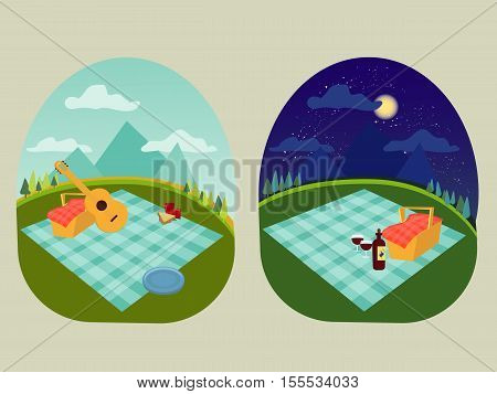 place for a family and romantic picnic in the park, spread out a blanket, a basket of food, summer vacation picnic in mountains, day and night with star and