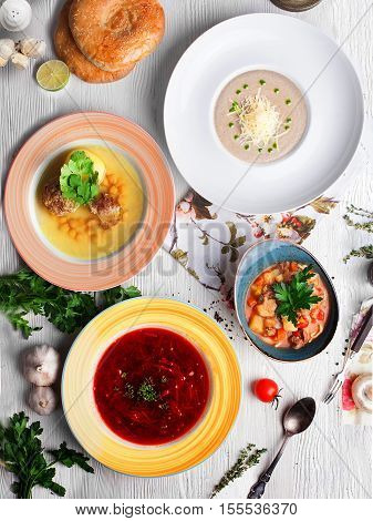 Mushroom cream soup, cream soup, Lagman, chicken soup with meatballs soup with meatballs, chicken soup, meatball soup, meatball, different kinds, many dishes, borscht