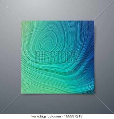 Poster design template with swirled concentric lines. Vector illustration of striped pattern. Marble texture imitation. Branding stationery design. Applicable for flyer, banner, poster, brochure