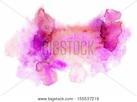 Pink watery illustration.Abstract watercolor hand drawn image.Rose splash.White background.