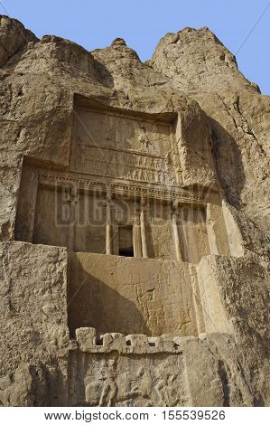 Naqsh-e Rustam Persian ancient necropolis northwest of Persepolis in Fars Province Iran with ancient Iranian rock relief in the cliff from Achaemenid Empire and Sassanid period