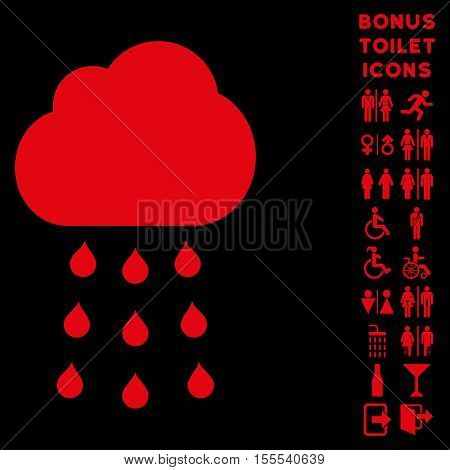Rain Cloud icon and bonus man and female WC symbols. Vector illustration style is flat iconic symbols, red color, black background.