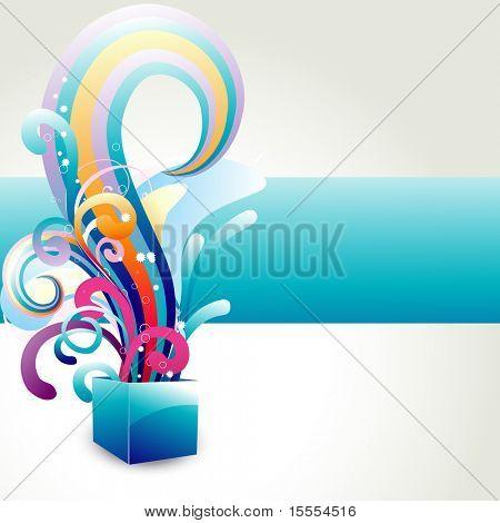 caixa de vetor com design floral colorido que sai