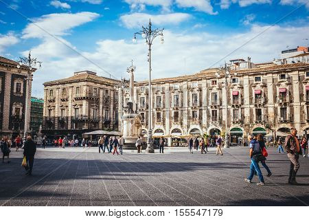 Sunny Day Of September In Piazza Duomo In Catania