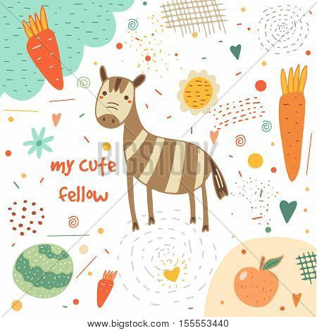 Cute hand drawn card postcard with zebra carrot cabbage apple flowers hearts polka dots abstract elements. Background cover for children in cartoon style