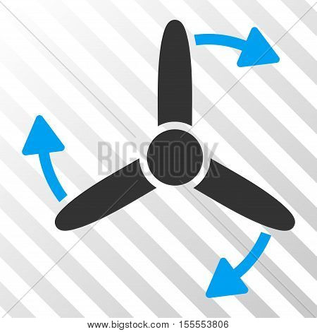 Three Bladed Screw Rotation vector pictograph. Illustration style is flat iconic bicolor blue and gray symbol on a hatched transparent background.