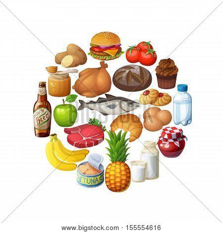 Circle of food stuff isolated on white background. Cartoon vector illustration. Bread, beer, chicken, fish, milk, hamburger,  tomato, banana, potato, meat