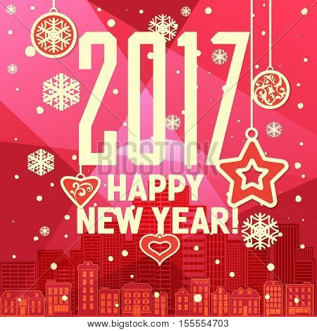 Colorful New Year's Eve card retro cartoon style New Year greetings card illustration. With design elements. New 2017 year greeting card for flyer, wallpaper, magazine, wallpaper. Happy new Year 2017.