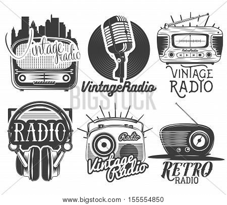 Vector set of radio and music labels in vintage style isolated on white background. Design elements and icons