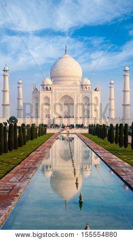 Taj Mahal Fountain Reflection Telephoto Fountain