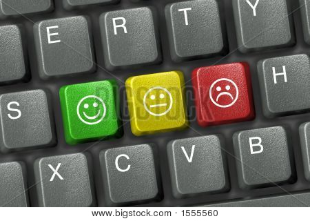Keyboard Close-Up With Three Smiley Keys