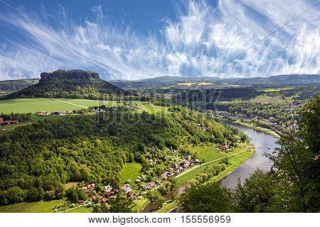 Saxon Switzerland, Germany. Elbe river landscape view