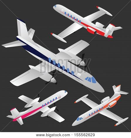 Set of isometric planes - business jets and regional passenger planes. No mesh only gradients.