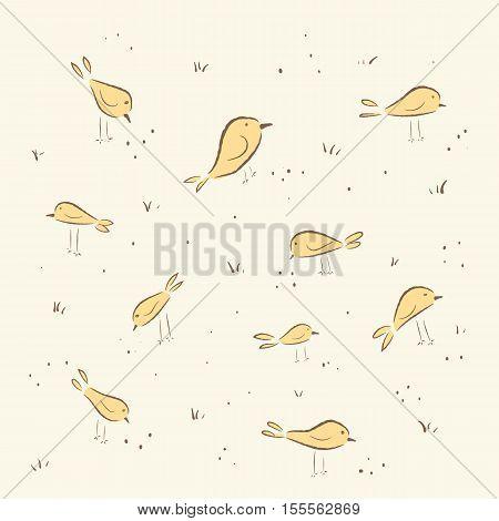 cute birds.  hand drawn, cartoon style. suitable for printing on a t-shirt or sweatshirt, shirt design, print bird, sketch bird, Children's fashion shirt. Cute bird vintage
