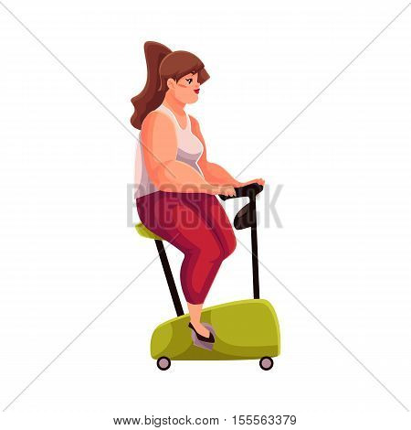 Fat woman doing cycling workout, cartoon vector illustration isolated on white background. Obese, fat, chubby woman trying to get fit by cycling, doing cardio exercises