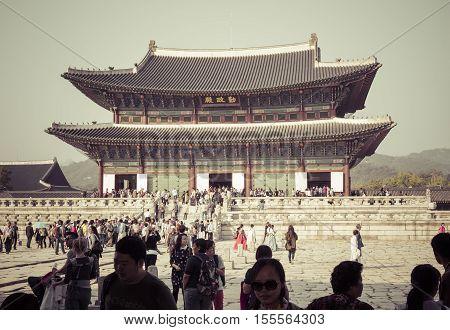 Seoul - October 21, 2016:geunjeongjeon, The Throne Hall, At The Gyeongbokgung Palace, The Main Royal