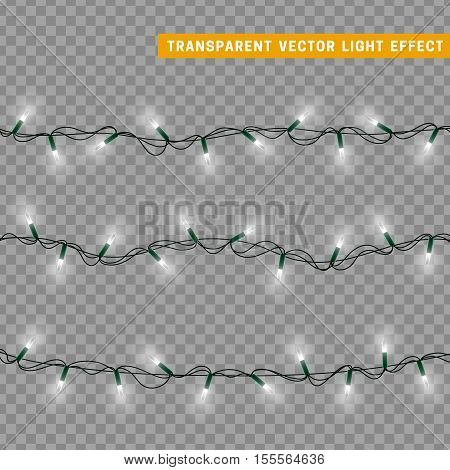 Christmas lights isolated realistic design elements. Glowing lights for Xmas Holiday greeting card design. Garlands, Christmas decorations. Christmas decoration isolated realistic luminous garland