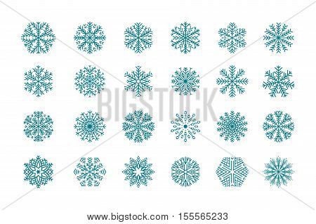 Set 24 blue different snowflakes of handmade. Snowflake Flat. New Year's symbols. Snowflakes for design. Winter objects. Festive elements.