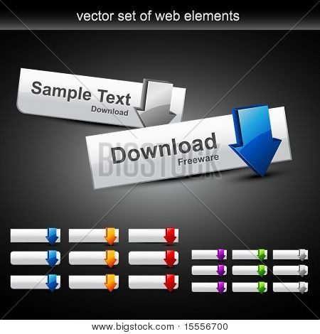 vector set of web buttons in different style and color
