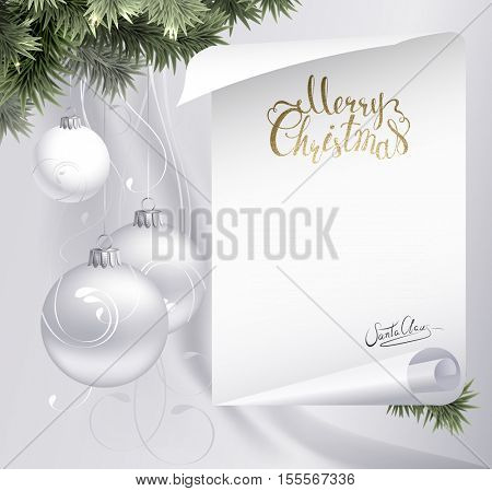 Holiday light background with fir tree branches, evening balls and letter with Santa Claus signature. Golden texture Merry Christmas lettering.