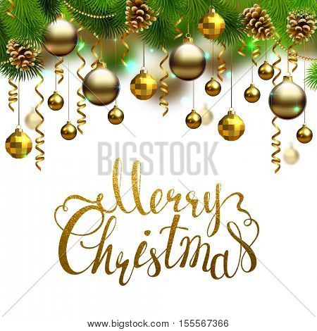 Elegant shiny holiday backgrounds with evening balls, cones, serpentines and fir-trees branches. Merry Christmas gold texture inscription.