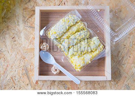 Mung bean rice-crepe Thai dessert Mock bean pods Thai sweetmeat foods.