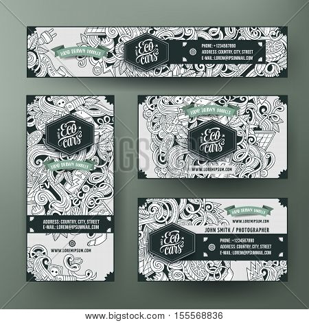 Corporate Identity vector templates set design with doodles hand drawn electric cars theme. Line art banner, id cards, flayer design. Templates set