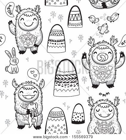 Black and white vector illustration. Coloring book page with hand drawn cute monsters, mountains, birds and hares. Outline imaginary characters background