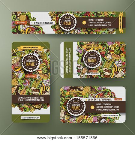 Corporate Identity vector templates set design with doodles hand drawn handmade theme. Colorful banner, id cards, flayer design. Templates set