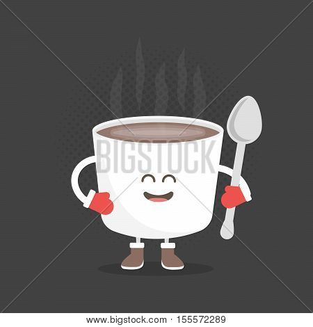Kids restaurant menu cardboard character. Christmas and New Year winter style. Funny cute mug coffee drawn with a smile eyes and hands. Dressed in Santa hat and warm gloves.