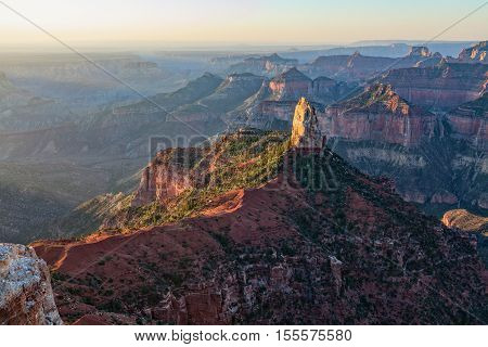 the rugged landscape of the grand canyon from the north rim in early morning
